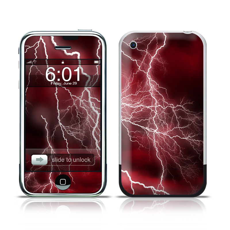 iPhone 1st Gen Skin design of Thunder, Thunderstorm, Lightning, Red, Nature, Sky, Atmosphere, Geological phenomenon, Lighting, Atmospheric phenomenon with red, black, white colors