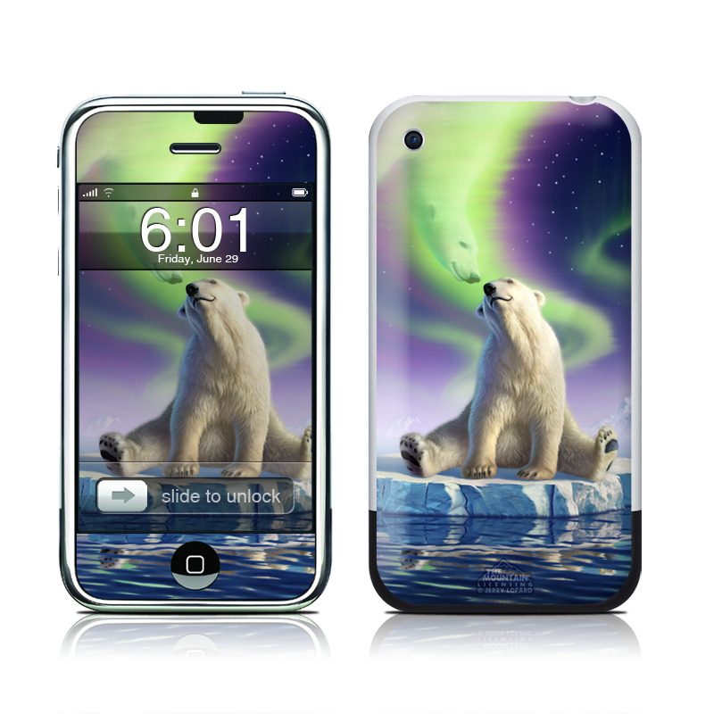 iPhone 1st Gen Skin design of Aurora, Sky, Wildlife, Polar bear, Fictional character with white, blue, green, purple colors