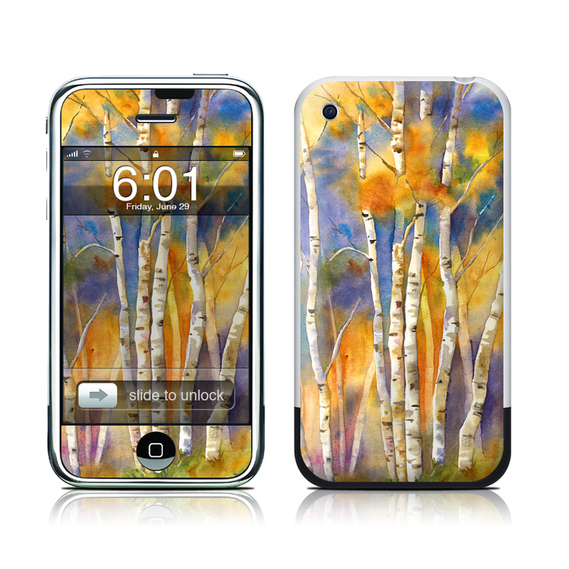 iPhone 1st Gen Skin design of Canoe birch, Watercolor paint, Tree, Birch, Woody plant, Painting, Plant, Birch family, Paint, Trunk with orange, yellow, green, white, purple, blue colors