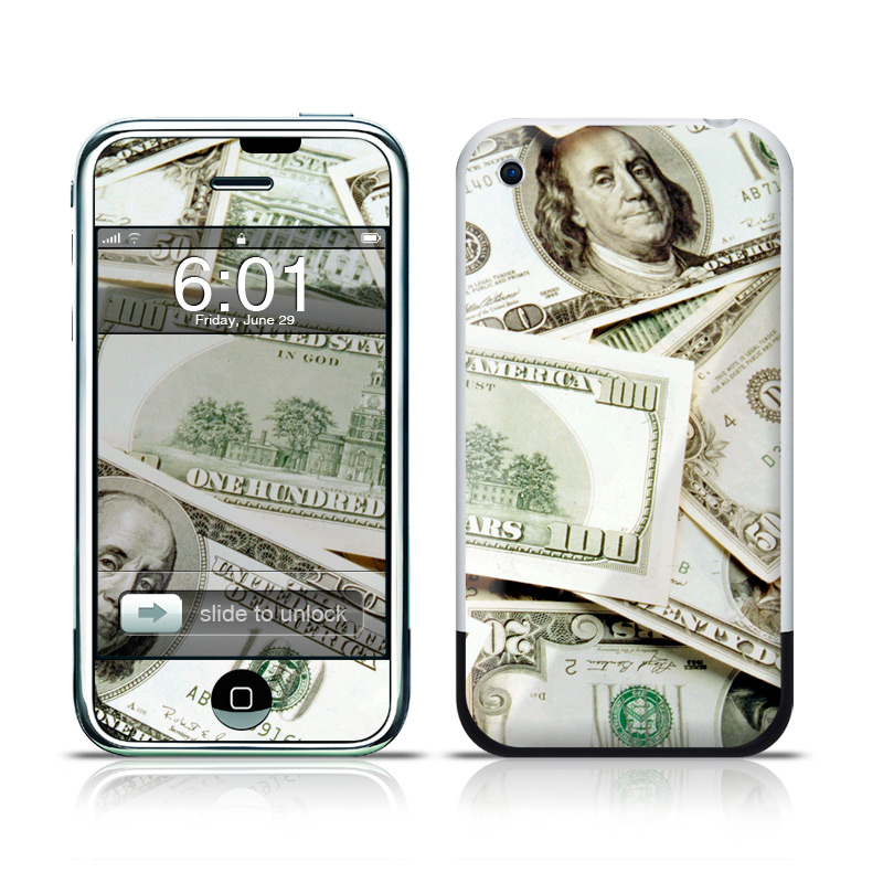 iPhone 1st Gen Skin design of Money, Cash, Currency, Banknote, Dollar, Saving, Money handling, Paper, Stock photography, Paper product with green, white, black, gray colors