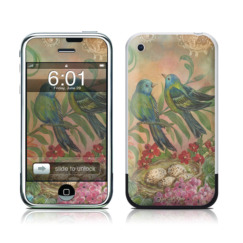 iPhone 1st Gen Skin design of Bird, Painting, Watercolor paint, Parrot, Acrylic paint, Bluebird, Perching bird, Songbird, Plant, Beak with blue, red, green, yellow, orange colors