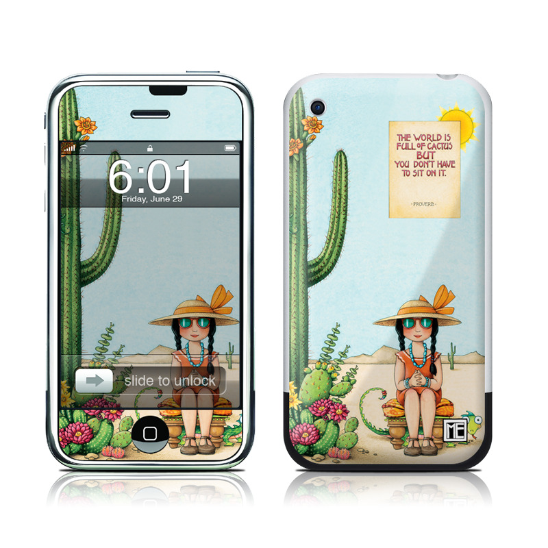 iPhone 1st Gen Skin design of Cartoon, Cactus, Illustration, Animated cartoon, Plant, Vegetable, Fictional character, Art with green, yellow, pink, orange, brown colors