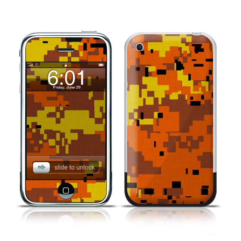 Digital Orange Camo iPhone 1st Gen Skin