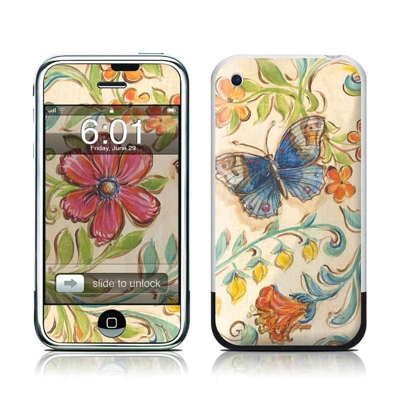 iPhone 1st Gen Skin design of Butterfly, Moths and butterflies, Insect, Pollinator, Plant, Pattern, Watercolor paint, Wildflower, Visual arts, Brush-footed butterfly with gray, pink, green, red, orange, blue colors