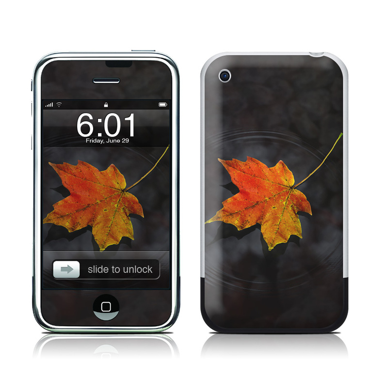 iPhone 1st Gen Skin design of Leaf, Maple leaf, Tree, Black maple, Sky, Yellow, Deciduous, Orange, Autumn, Red with black, red, green colors