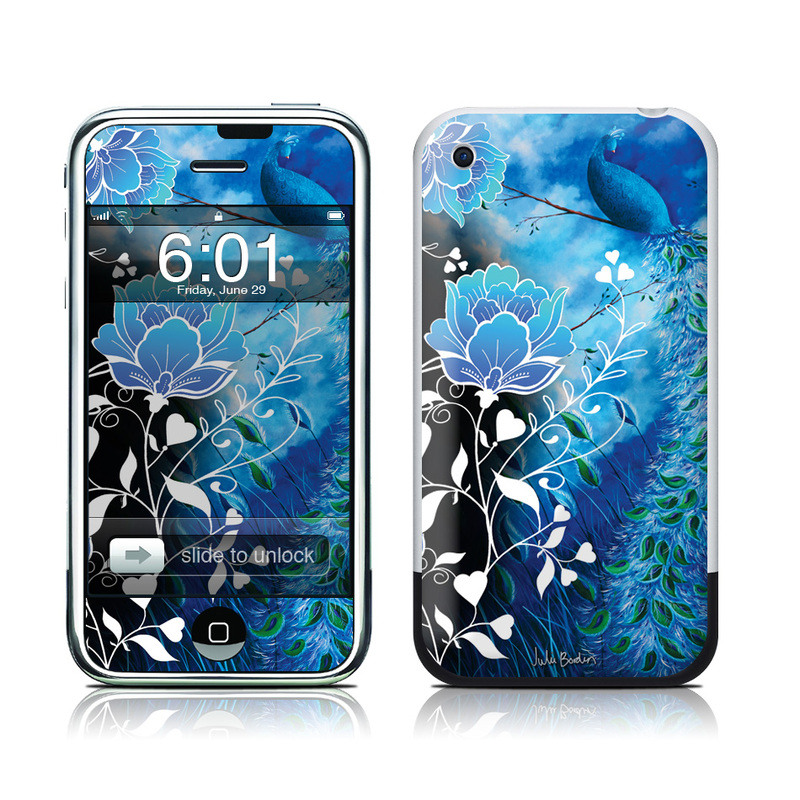 iPhone 1st Gen Skin design of Blue, Pattern, Graphic design, Design, Illustration, Organism, Visual arts, Graphics, Plant, Art with black, blue, gray, white colors