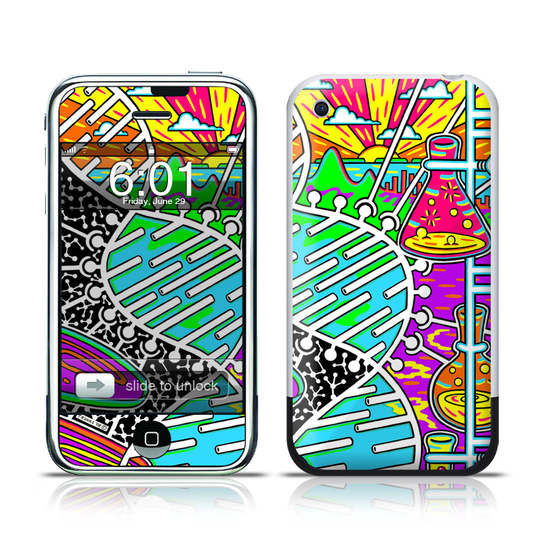 iPhone 1st Gen Skin design of Visual arts, Psychedelic art, Pattern, Design, Art with black, gray, white, blue, red colors
