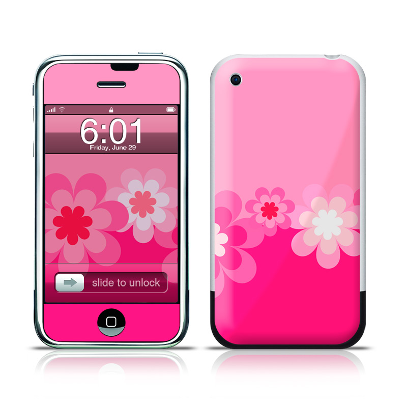 Retro Pink Flowers iPhone 1st Gen Skin
