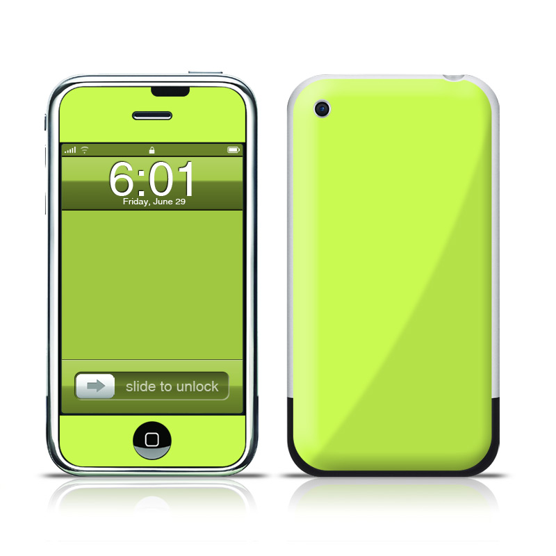 iPhone 1st Gen Skin design of Green, Yellow, Text, Leaf, Font, Grass with green colors