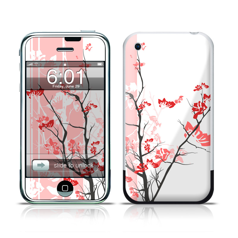 iPhone 1st Gen Skin design of Branch, Red, Flower, Plant, Tree, Twig, Blossom, Botany, Pink, Spring with white, pink, gray, red, black colors