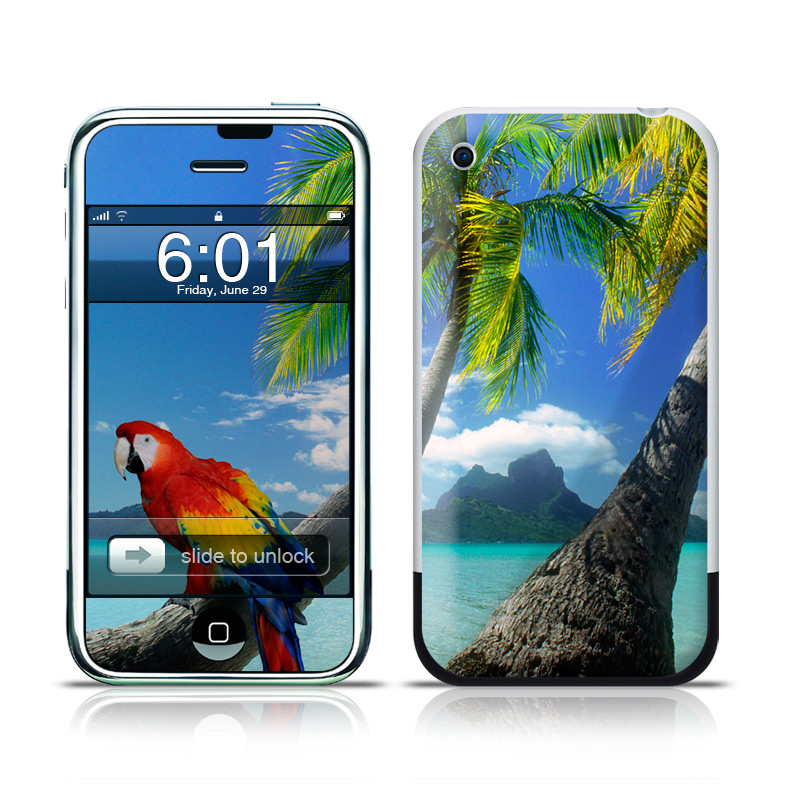 iPhone 1st Gen Skin design of Nature, Bird, Tropics, Caribbean, Tree, Parrot, Palm tree, Vacation, Macaw, Ocean with blue, black, gray, green colors