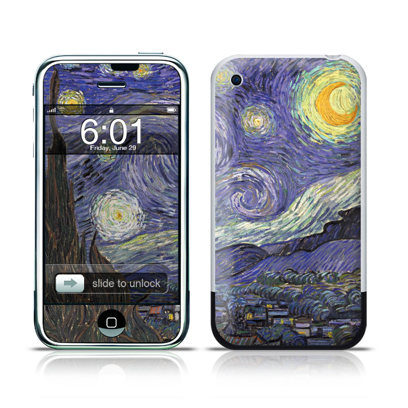 iPhone 1st Gen Skin design of Painting, Purple, Art, Tree, Illustration, Organism, Watercolor paint, Space, Modern art, Plant with gray, black, blue, green colors