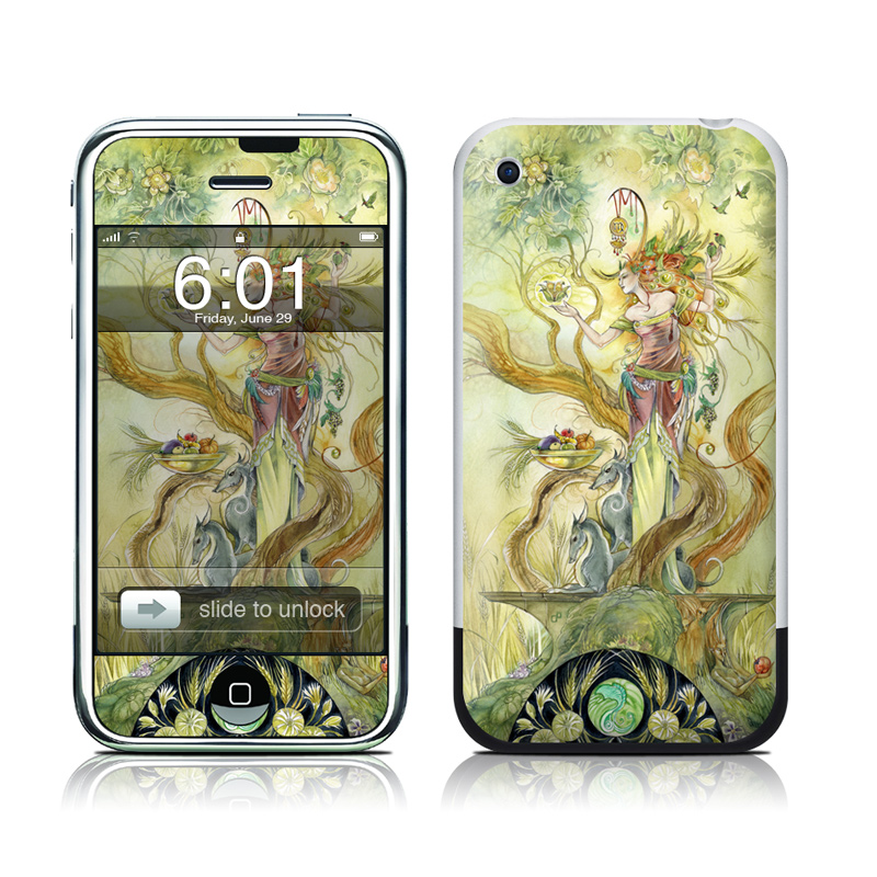 iPhone 1st Gen Skin design of Art, Illustration, Mythology, Painting, Fictional character, Watercolor paint, Visual arts, Cg artwork, Graphic design, Style with green, yellow, orange, gray, red colors