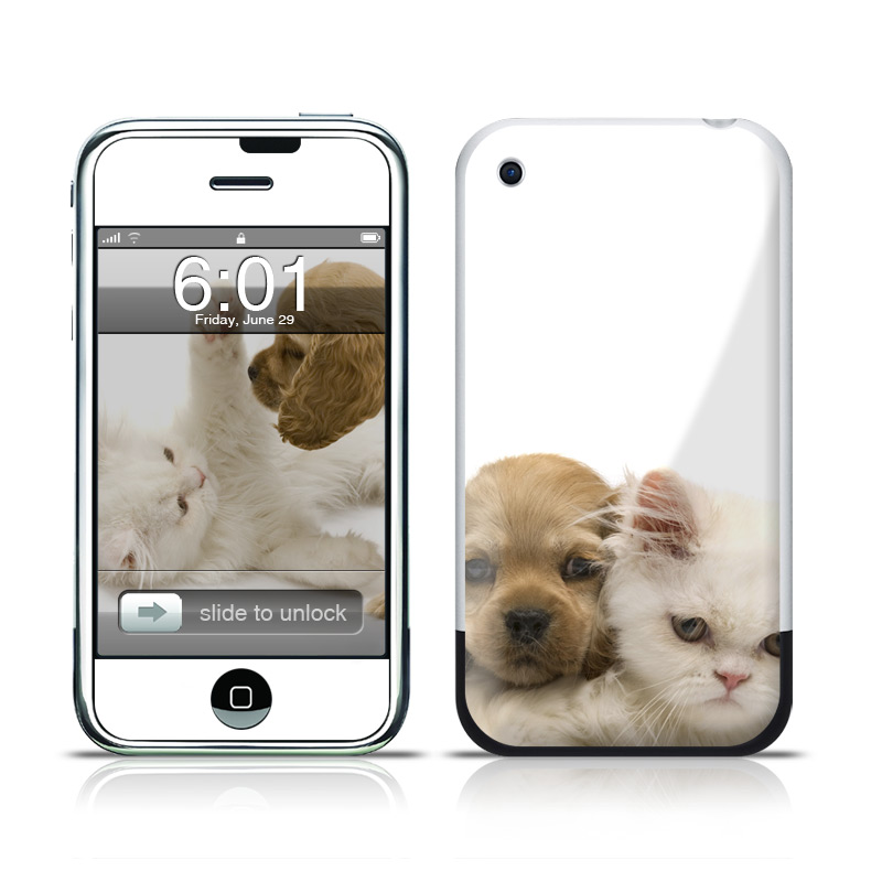 iPhone 1st Gen Skin design of Mammal, Vertebrate, Cat, Canidae, Puppy, Carnivore, Dog, Dog breed, Felidae, Kitten with gray, white, green, black, pink, yellow colors