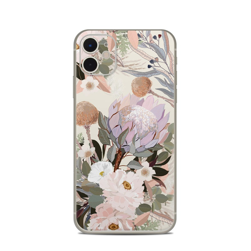 iPhone 11 Skin design of Flower, Floral design, Watercolor paint, Plant, Spring, Branch, Flower Arranging, Lilac, Floristry, Petal with pink, purple, green, brown, white, yellow, black colors