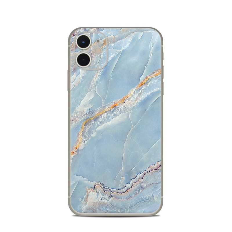 iPhone 11 Skin design of Blue, Azure, Aqua, Onyx with blue, red, orange, white colors