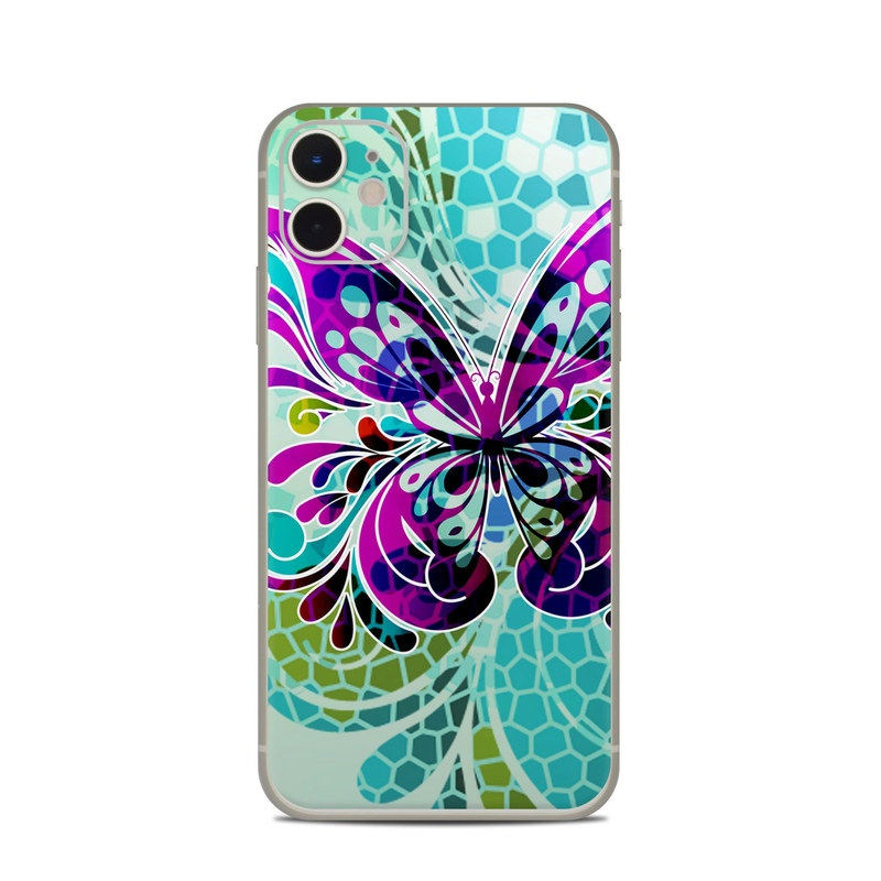 iPhone 11 Skin design of Butterfly, Pattern, Insect, Moths and butterflies, Purple, Graphic design, Design, Pollinator, Visual arts, Magenta with blue, green, purple colors
