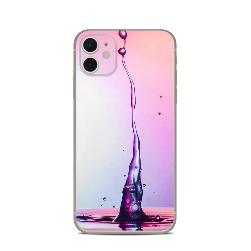 iPhone 11 Skin design of Water, Drop, Liquid, Pink, Purple, Still life photography, Fluid, Magenta with purple, pink, white, orange colors