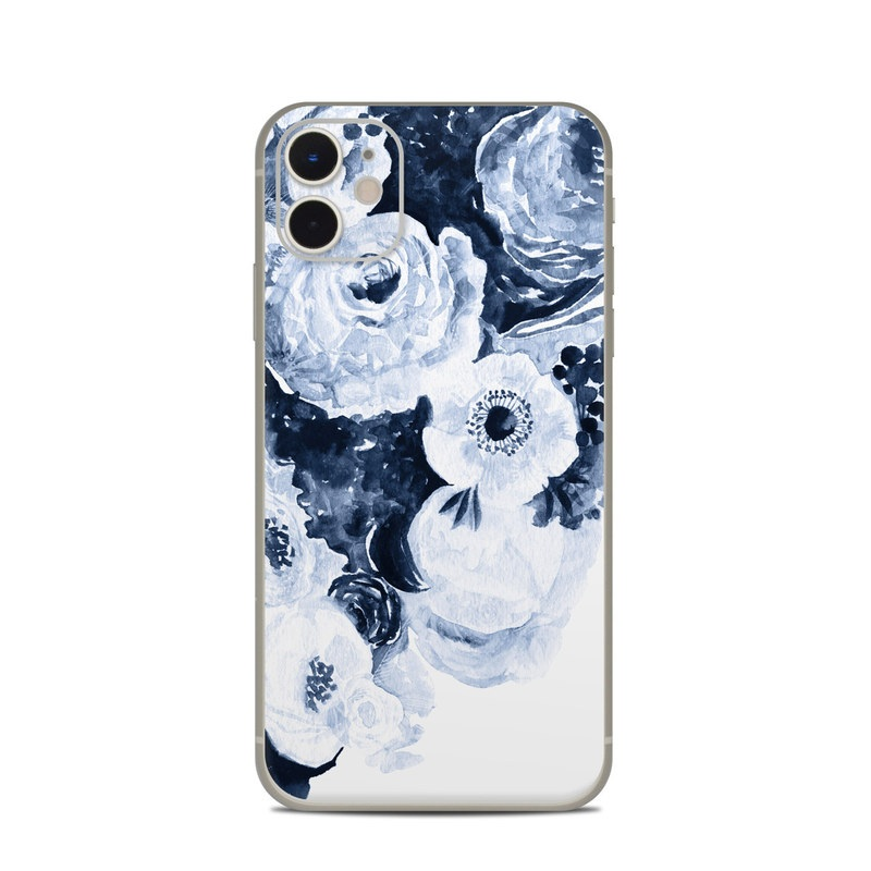 iPhone 11 Skin design of White, Flower, Cut flowers, Garden roses, Plant, Bouquet, Rose, Black-and-white, Rose family, Still life with white, blue colors