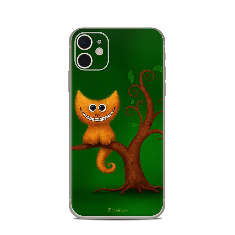iPhone 11 Skin design of Green, Animated cartoon, Cartoon, Illustration, Owl, Animation, Tree, Branch, Organism, Plant with green, brown, orange colors