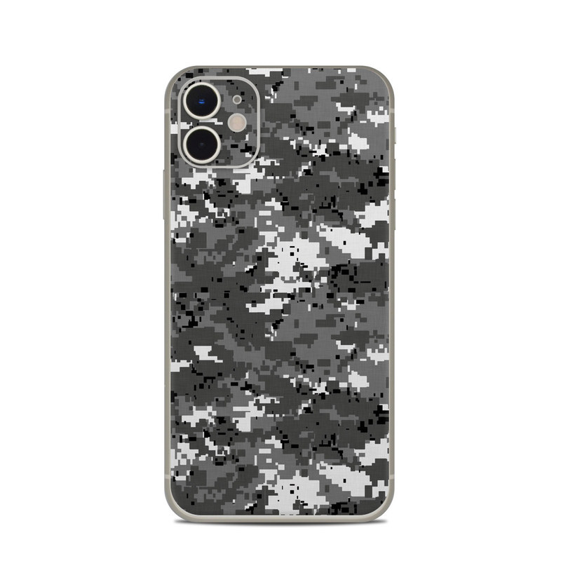 iPhone 11 Skin design of Military camouflage, Pattern, Camouflage, Design, Uniform, Metal, Black-and-white with black, gray colors