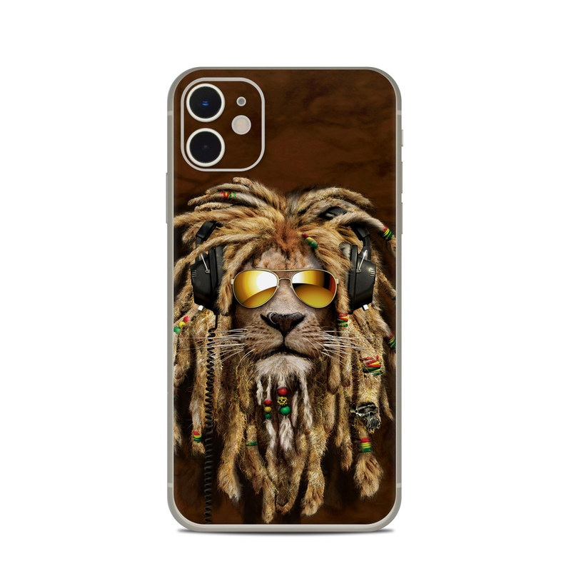 iPhone 11 Skin design of Hair, Fur, Dreadlocks, Snout, Organism, Glasses, Whiskers, Mask, Wildlife, Fictional character with black, green, red, gray colors