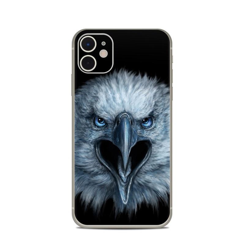 iPhone 11 Skin design of Bird, Vertebrate, Bird of prey, Beak, Eagle, Wildlife, Organ, Close-up, Eye, Accipitriformes with white, gray, black, blue colors