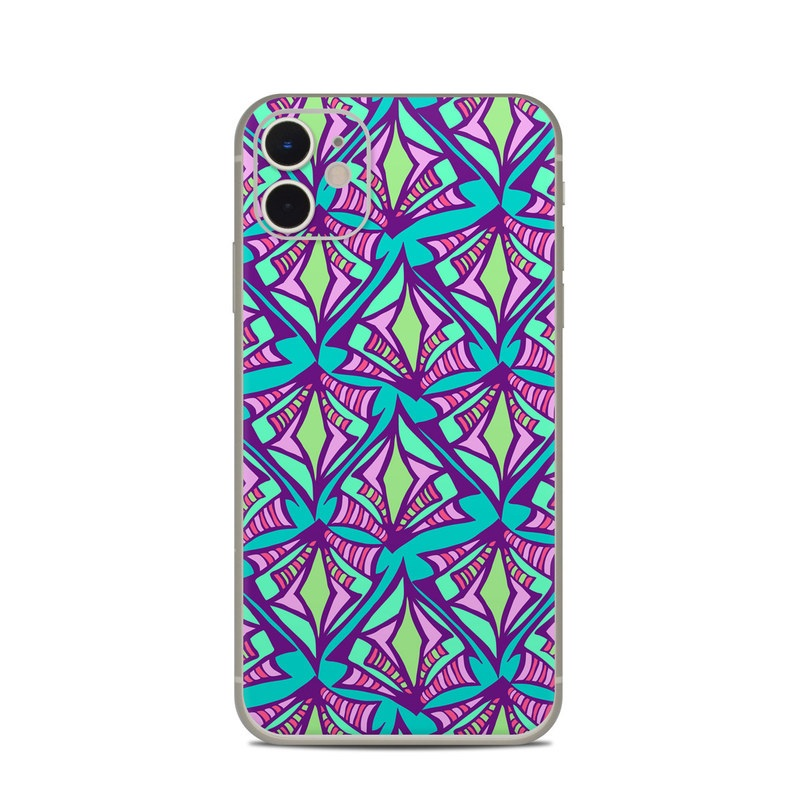 iPhone 11 Skin design of Pattern, Purple, Pink, Line, Magenta, Symmetry, Design, Teal, Textile with blue, purple, gray, green, pink colors