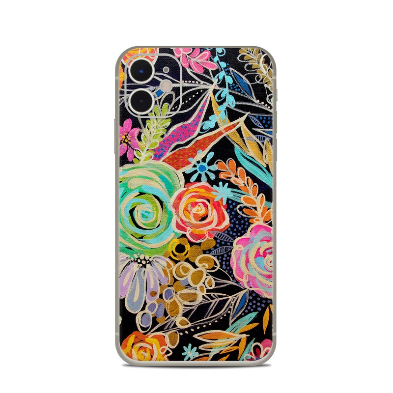 iPhone 11 Skin design of Pattern, Floral design, Design, Textile, Visual arts, Art, Graphic design, Psychedelic art, Plant with black, gray, green, red, blue colors
