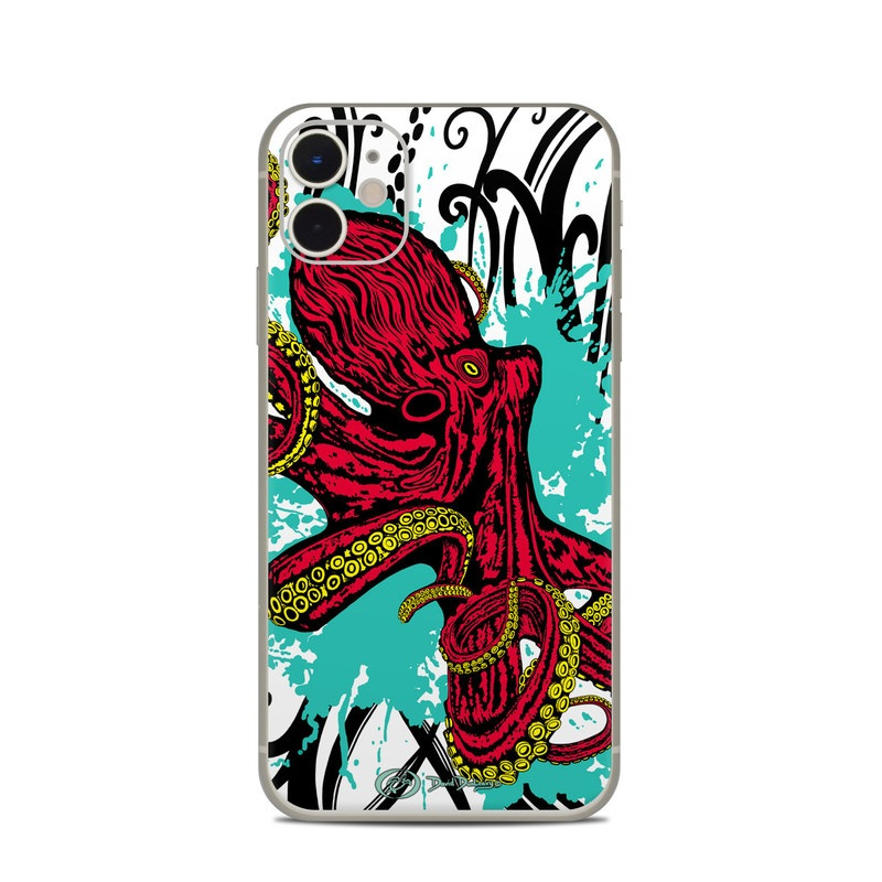 iPhone 11 Skin design of Graphic design, Illustration, Visual arts, Octopus, Design, Art, Fictional character, Pattern, Clip art, Line art with black, white, gray, red, blue, green colors