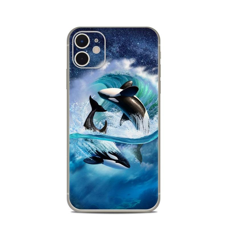 iPhone 11 Skin design of Dolphin, Short-beaked common dolphin, Sky, Cetacea, Killer whale, Marine mammal, Water, Illustration, Bottlenose dolphin, Common bottlenose dolphin with black, blue, white, green colors