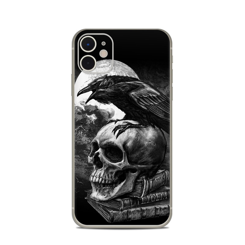iPhone 11 Skin design of Bone, Skull, Bird, Darkness, Monochrome, Wing, Black-and-white, Illustration, Beak, Fictional Character, Drawing, Symbol with black, white, gray colors