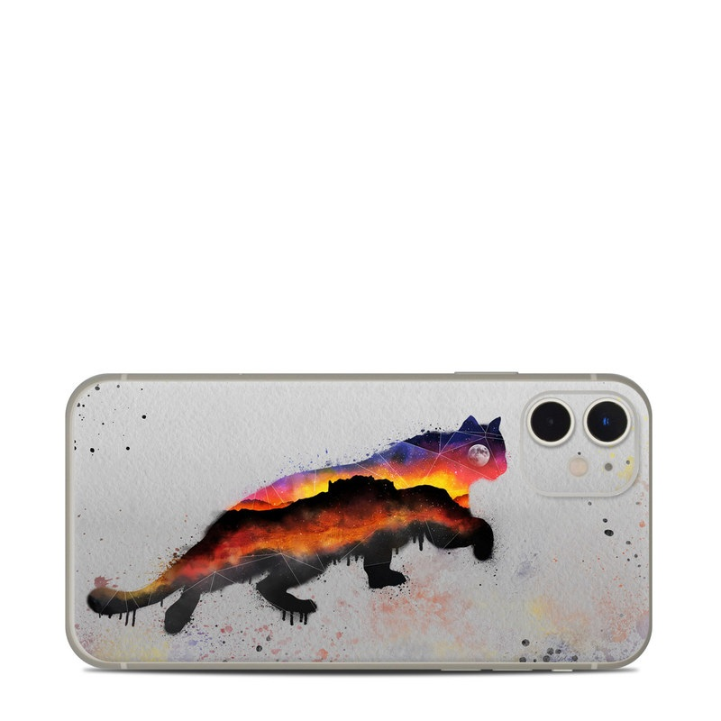 iPhone 11 Skin design of Illustration, Watercolor paint, Art, Tail, Painting, Drawing, Acrylic paint, Geological phenomenon, Red fox, Paint with gray, black, red, yellow, orange, white colors