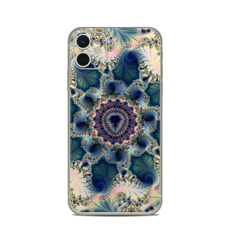 iPhone 11 Skin design of Fractal art, Pattern, Blue, Organism, Turquoise, Symmetry, Aqua, Art, Design, Close-up with gray, black, pink, blue, green colors