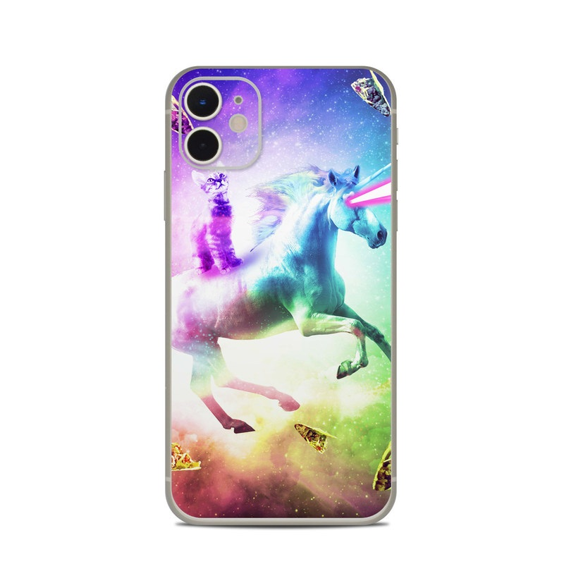 iPhone 11 Skin design of Fictional character, Illustration, Unicorn, Graphic design, Sky, Space, Mythical creature, Cg artwork, Art, Mythology with black, white, blue, green, purple, pink, red colors