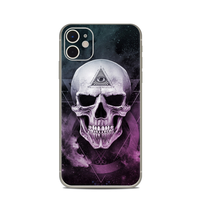 iPhone 11 Skin design of Skull, Bone, Illustration, Font, Jaw, Fictional character, Graphic design, Graphics, Art with black, white, gray, purple colors