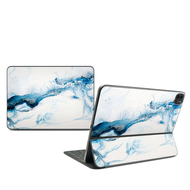 iPad Pro 11-inch Smart Keyboard Folio Skin design of Glacial landform, Blue, Water, Glacier, Sky, Arctic, Ice cap, Watercolor paint, Drawing, Art with white, blue, black colors