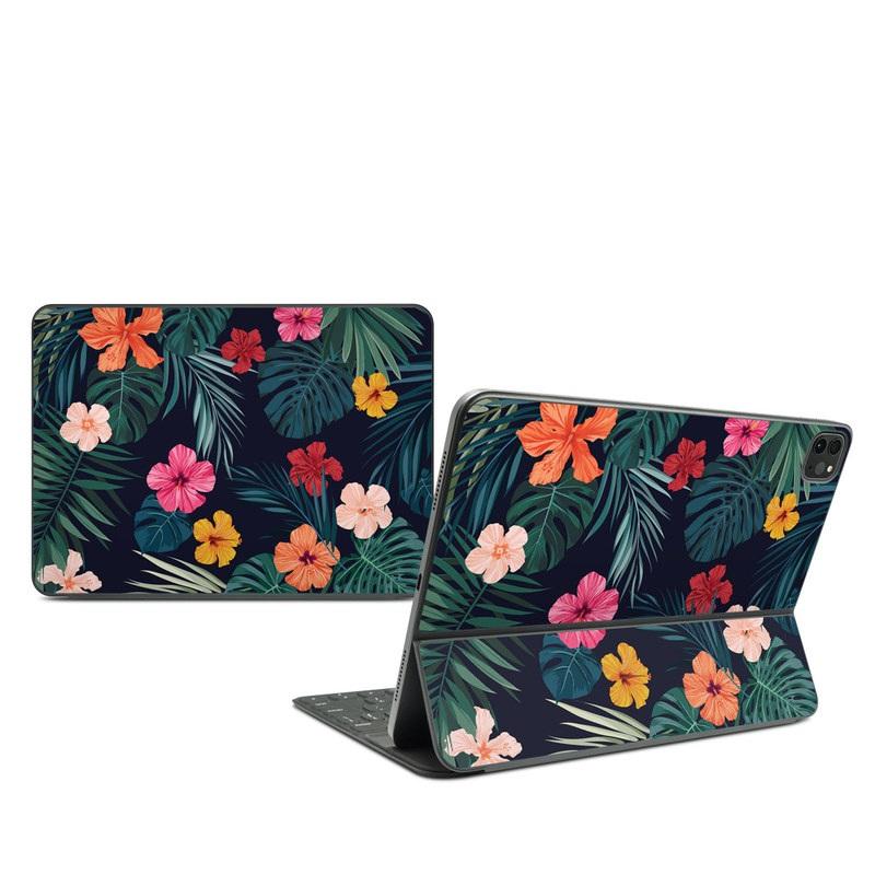 iPad Pro 11-inch Smart Keyboard Folio Skin design of Hawaiian hibiscus, Flower, Pattern, Plant, Leaf, Floral design, Botany, Design, Hibiscus, Petal with black, green, red, pink, orange, yellow, white colors