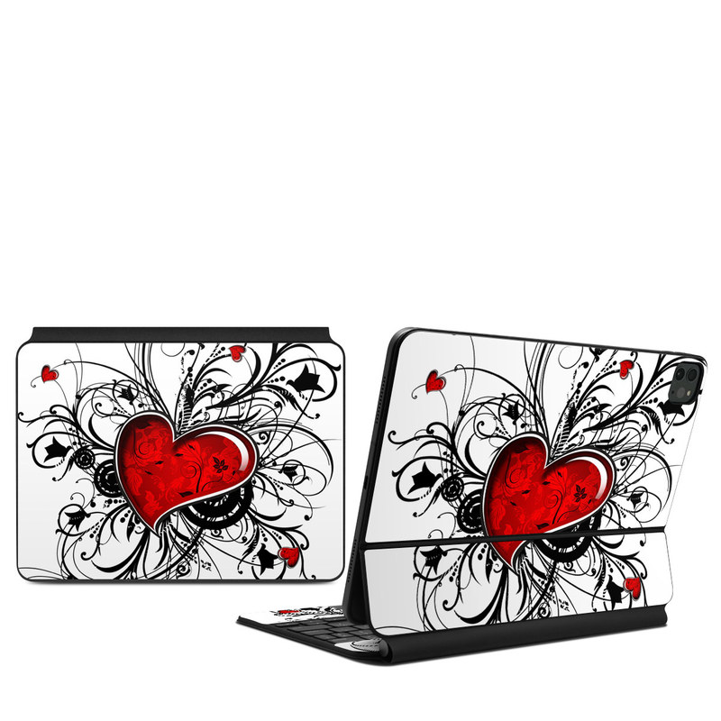 iPad Pro 11-inch Magic Keyboard Skin design of Heart, Line art, Love, Clip art, Plant, Graphic design, Illustration with white, gray, black, red colors