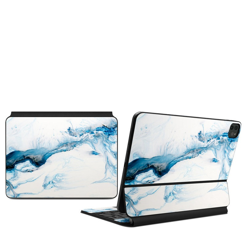 iPad Pro 11-inch Magic Keyboard Skin design of Glacial landform, Blue, Water, Glacier, Sky, Arctic, Ice cap, Watercolor paint, Drawing, Art with white, blue, black colors