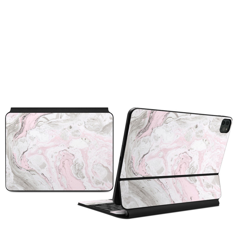 iPad Pro 11-inch Magic Keyboard Skin design of White, Pink, Pattern, Illustration with pink, gray, white colors