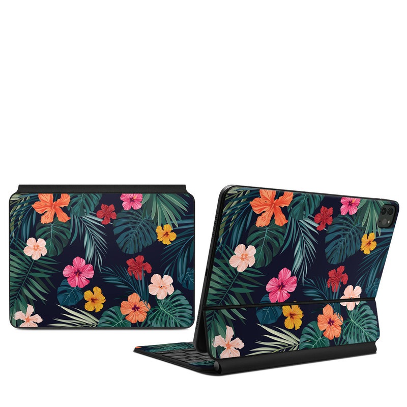 iPad Pro 11-inch Magic Keyboard Skin design of Hawaiian hibiscus, Flower, Pattern, Plant, Leaf, Floral design, Botany, Design, Hibiscus, Petal with black, green, red, pink, orange, yellow, white colors