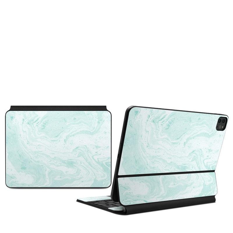 iPad Pro 11-inch Magic Keyboard Skin design of White, Aqua, Pattern with green, blue colors
