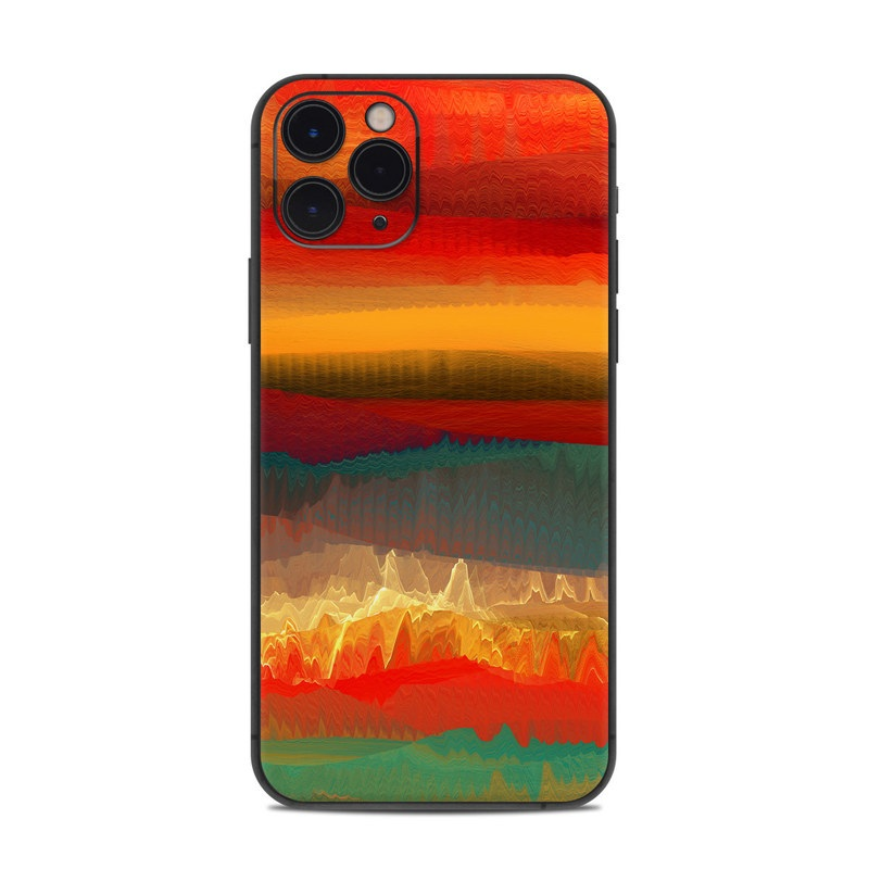iPhone 11 Pro Skin design of Sky, Red, Horizon, Afterglow, Orange, Painting, Acrylic paint, Watercolor paint, Sunset, Geological phenomenon with red, blue, green, yellow, orange, white colors