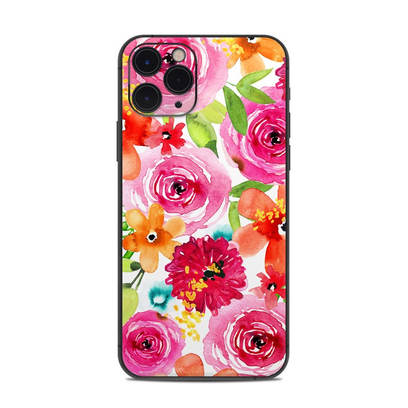 iPhone 11 Pro Skin design of Flower, Cut flowers, Floral design, Plant, Pink, Bouquet, Petal, Flower Arranging, Artificial flower, Clip art with pink, red, green, orange, yellow, blue, white colors