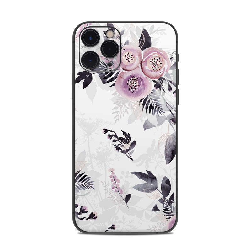 iPhone 11 Pro Skin design of Pink, Pattern, Design, Floral design, Textile, Plant, Flower, Magenta, Petal, Wallpaper with white, purple, pink, black, gray colors