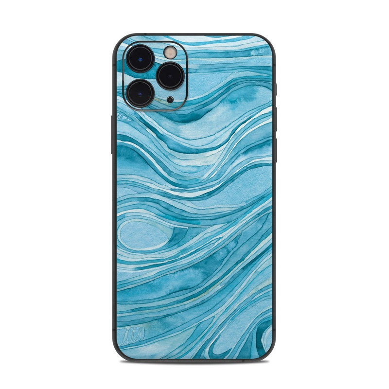 iPhone 11 Pro Skin design of Water, Liquid, Azure, Fluid, Rectangle, Aqua, Painting, Pattern, Electric blue, Art with blue, white colors