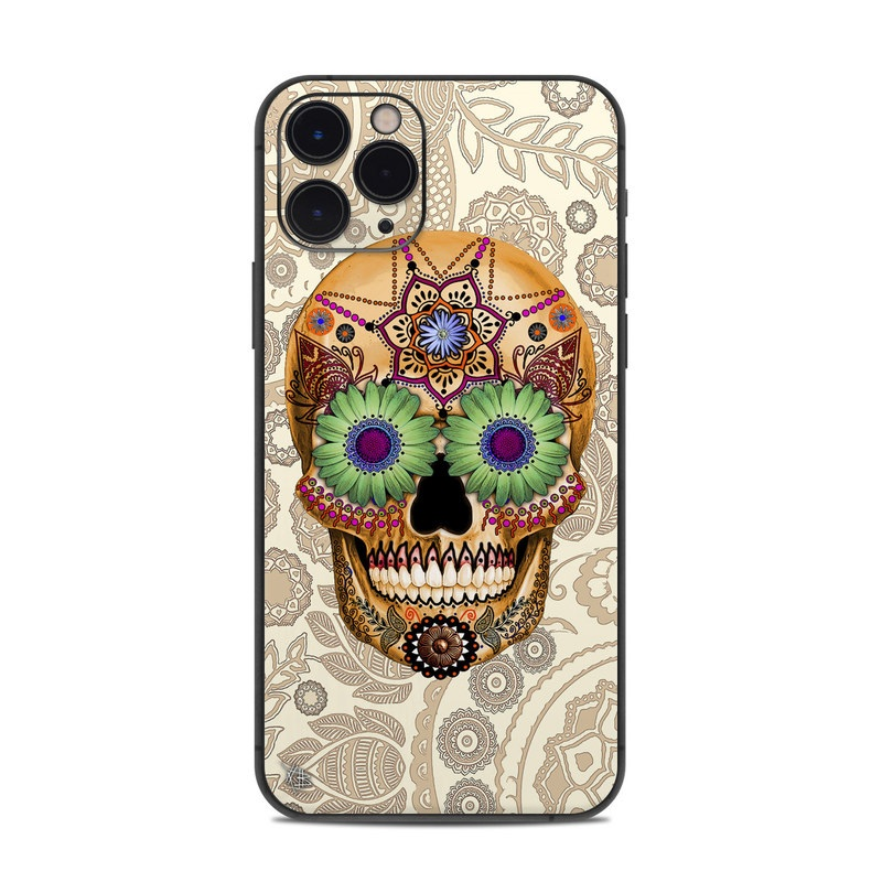 iPhone 11 Pro Skin design of Skull, Bone, Pattern, Design, Illustration, Visual arts, Fashion accessory, Art with gray, yellow, green, black, red, pink colors