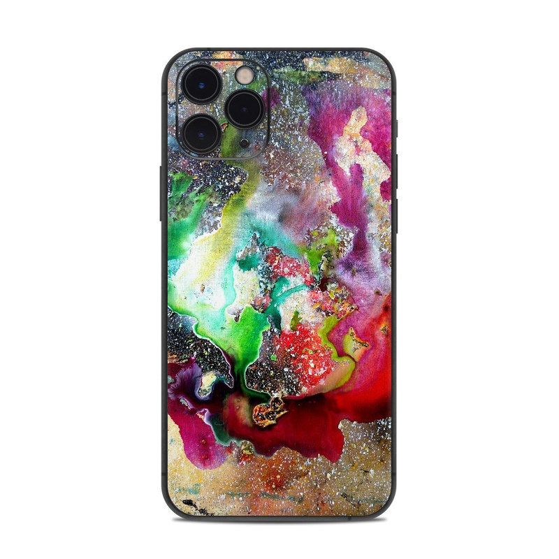 iPhone 11 Pro Skin design of Organism, Space, Art, Nebula, Rock with black, gray, red, green, blue, purple colors