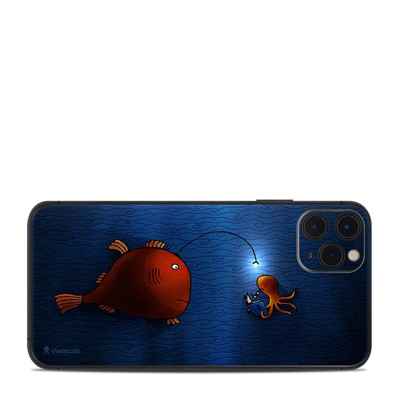 iPhone 11 Pro Max Skin design of Deep sea fish, Anglerfish, Illustration, Fish, Animation, Art with blue, red colors